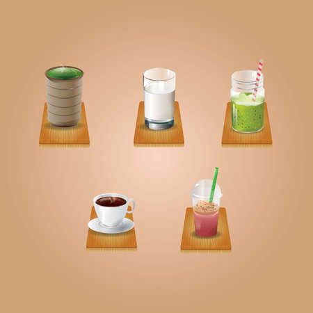 collection of beverages Illustration