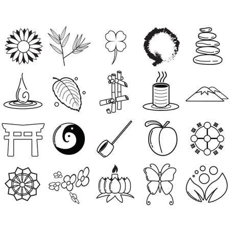 assorted zen icon set Illustration