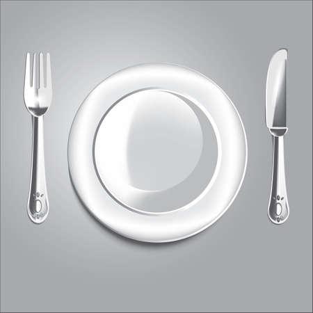 나이프와 포크와 접시