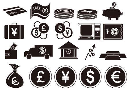 Una ilustración de iconos de banca. Foto de archivo - 81487097
