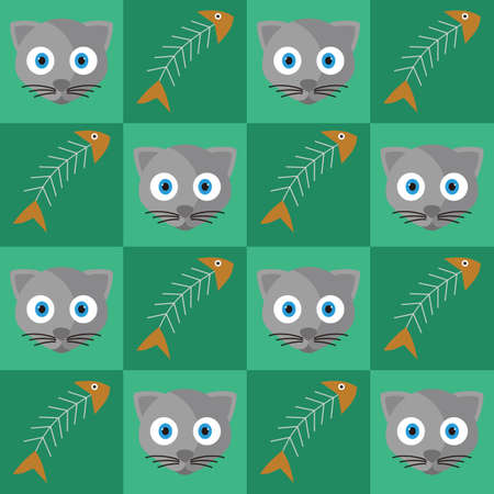 Achtergrond van kat en vis botten Stock Illustratie