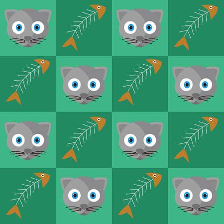 Cat and fish bones background