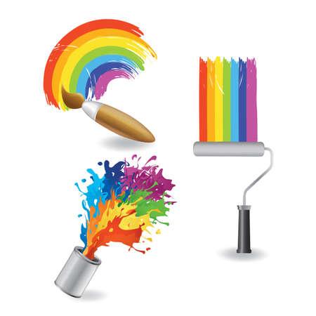regenboog verfcollectie Stock Illustratie