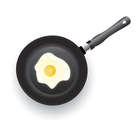 fried egg in pan Illustration