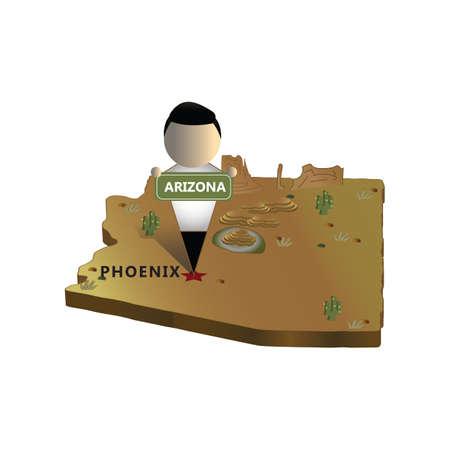 mapa del estado de arizona