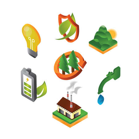collection of eco friendly icons Ilustracja