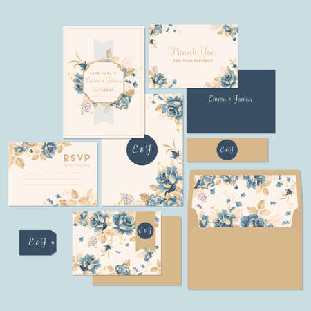 Wedding invitation and thank you card Stock Illustratie