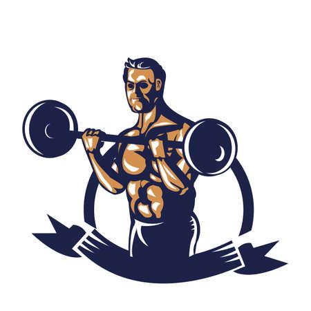 Affiche de haltères bodybuilder Banque d'images - 81589104