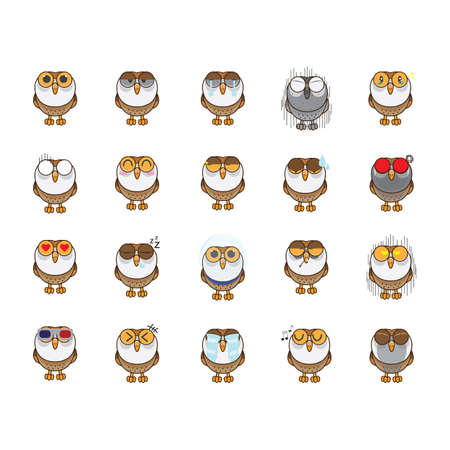 Owl with various expressions collection