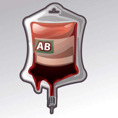 blood bag with blood group ab