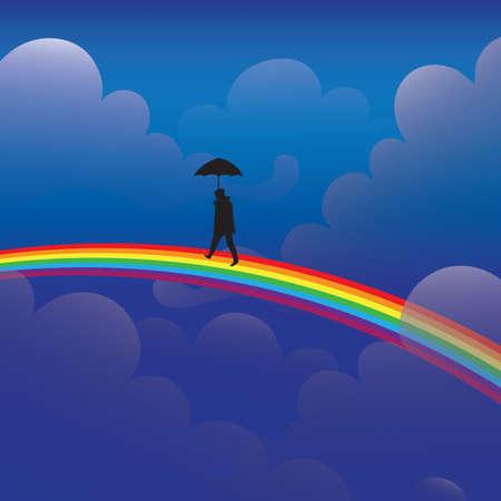 虹の上を歩いて傘を持つ男