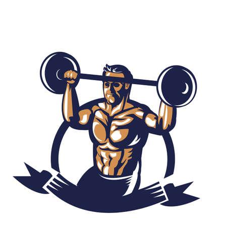 Affiche de haltères bodybuilder Banque d'images - 81589095