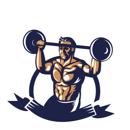 bodybuilder lifting barbell poster