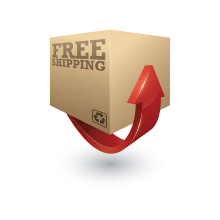 cardboard box with arrow