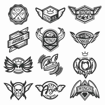 set of angel emblems
