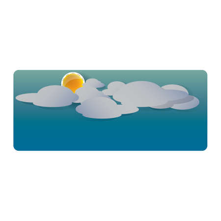 A sky with sun and clouds illustration. Illustration