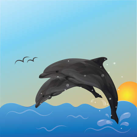 A dolphins in the ocean illustration. Фото со стока - 81487133