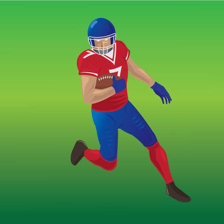 american football player running with ball in hand Иллюстрация