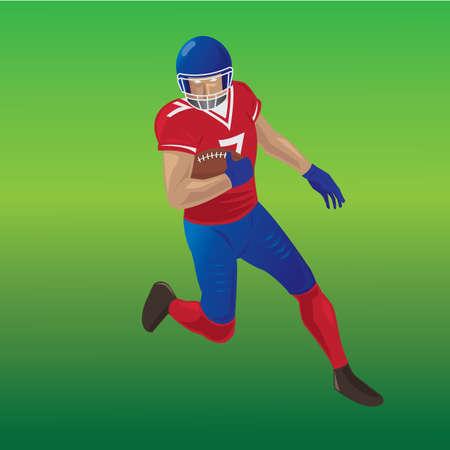 Amerikaanse voetbalster die met in hand bal loopt Stock Illustratie