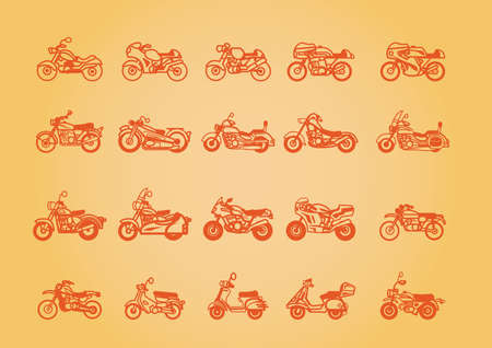 collection of different two wheelers Ilustracja
