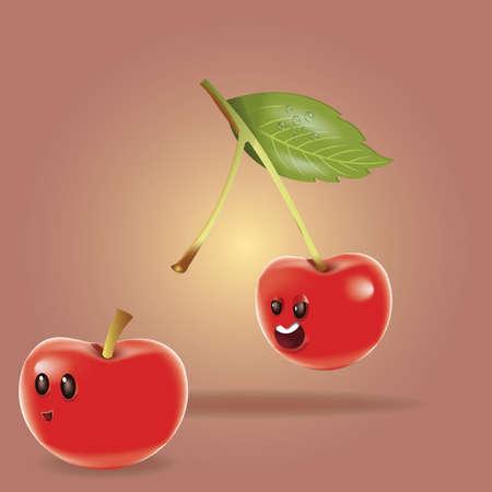 cute cartoon cherries Stock Illustratie