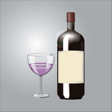 wine bottle with glass Illustration