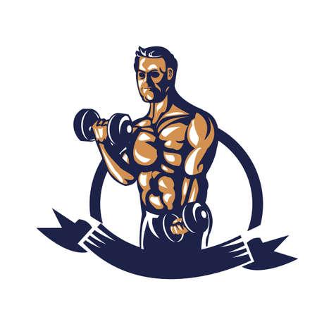 bodybuilder lifting dumbbell poster Stock Vector - 81589110