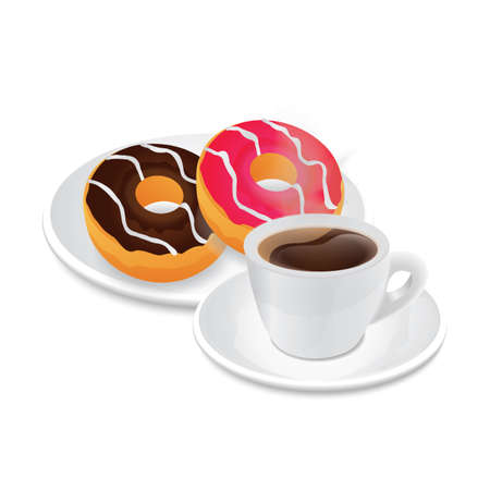 donuts and coffee Çizim