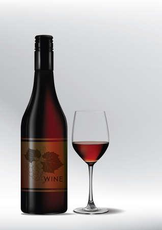 ボトルで赤ワインのガラス