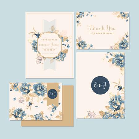 Invitación de boda y tarjeta de agradecimiento Foto de archivo - 106674155