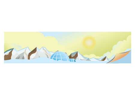 Ice caps and igloo banner illustration.