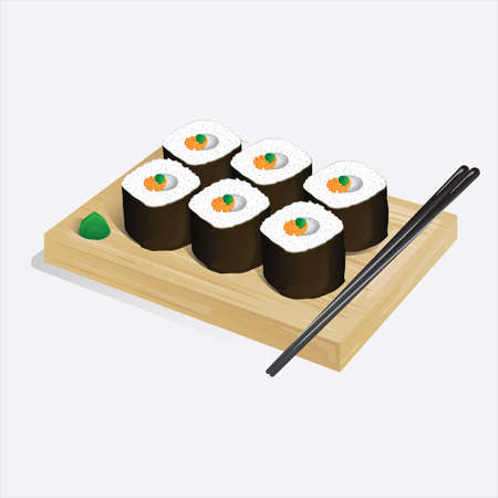 sushi roll on a wooden board