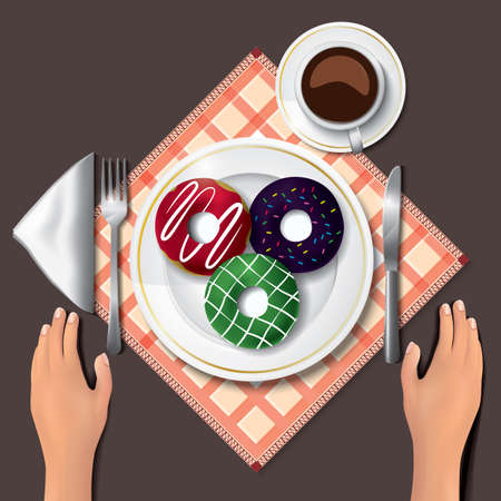 doughnuts on table with hands 스톡 콘텐츠 - 106674196