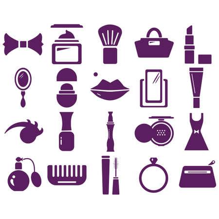 Set van cosmetische pictogrammen Stock Illustratie