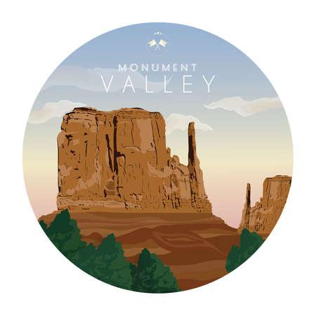 Valle del monumento Ilustración de vector