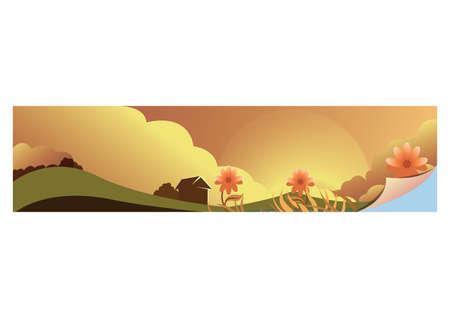 風景バナー イラスト。