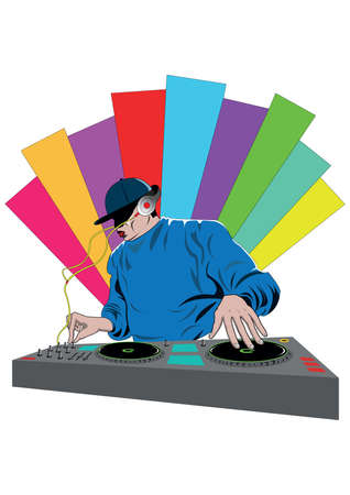 dj mixing a turntable