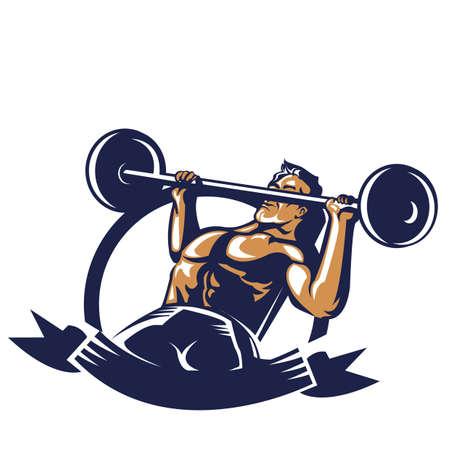 bodybuilder barbell poster opheffen Stock Illustratie