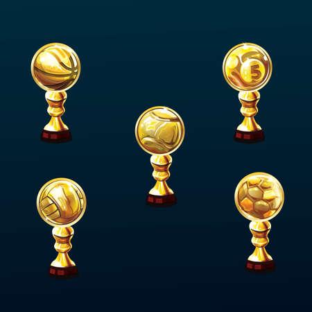 A set of sports trophy illustration.