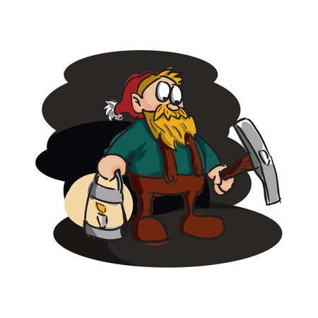 miner with axe and lantern