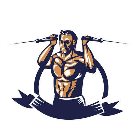 Bodybuilder affiche d'extension de câble de traction Banque d'images - 81589123
