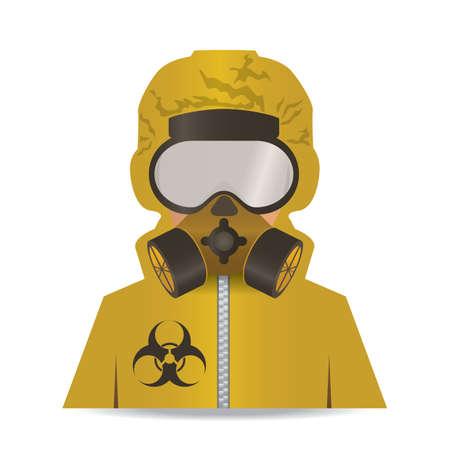 hombre en traje de protección y máscara de gas