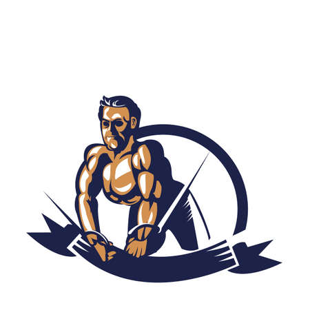 bodybuilder pulling cable extension poster