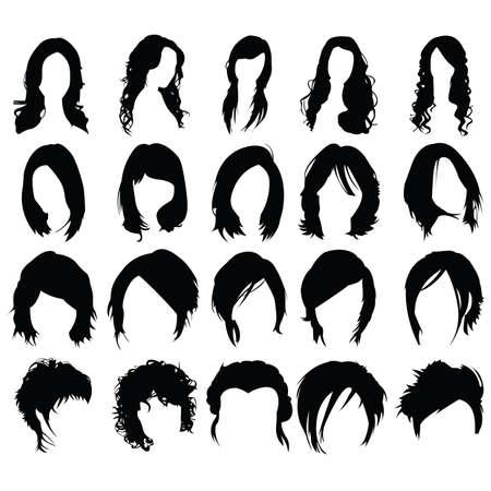 女性の髪のスタイルのセット