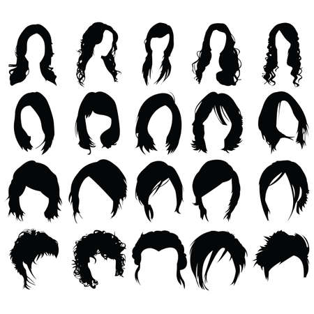 Set of woman hair styles 向量圖像
