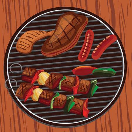 バーベキュー グリルの上に食べ物