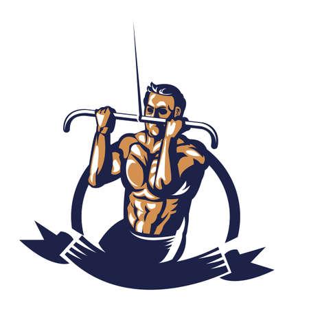 Bodybuilder affiche d'extension de câble de traction Banque d'images - 81538902