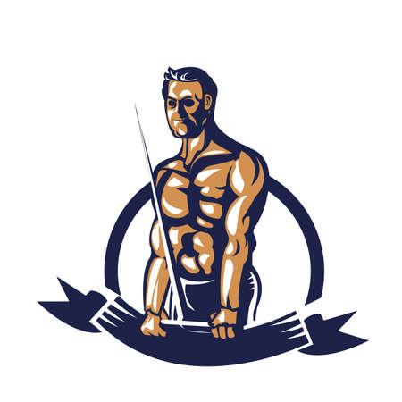 bodybuilder kabel verlenging poster trekken Stock Illustratie