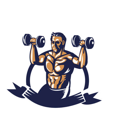 bodybuilder lifting dumbbell poster Stock Vector - 81589119