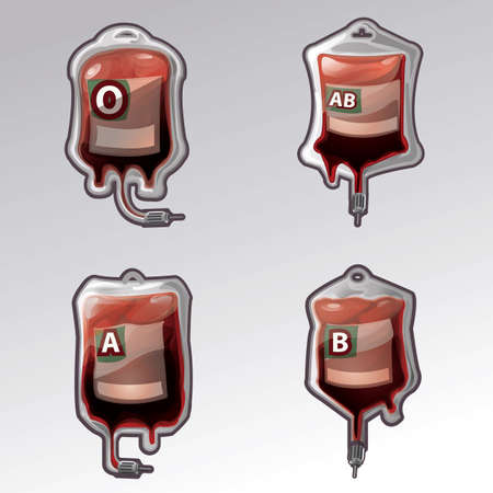 collection of blood bags with blood groups Illustration